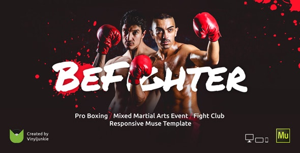 BeFighter v1.0 — Boxing Event / Mixed Martial Arts / Fight Club Responsive Muse Template