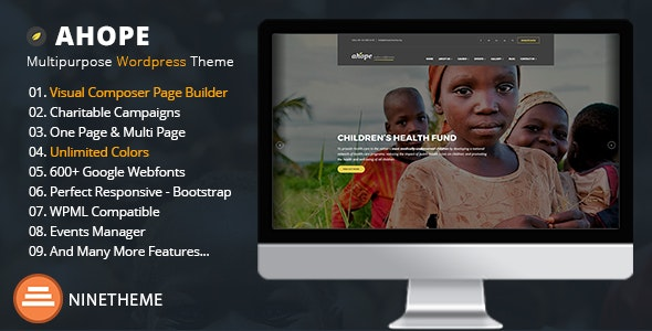 Ahope v2.2.8 — Nonprofit WordPress Theme