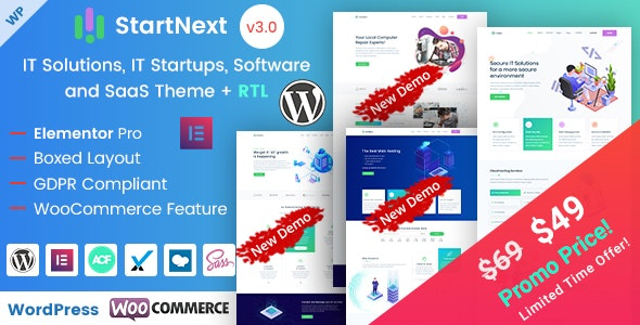 StartNext v3.2 — IT Startups WordPress Theme