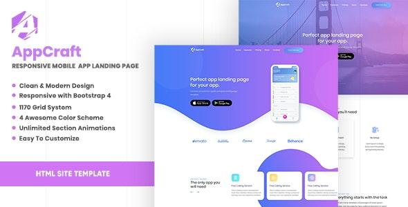 AppCraft v1.0 — Creative Template for Mobile App Landing Page
