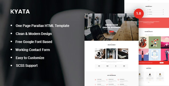 Kyata v1.0 — One Page Parallax HTML5 Template