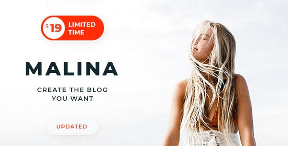Malina v1.8.0 — Personal WordPress Blog Theme