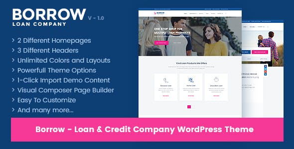 Borrow v1.4.8 — Loan Company Responsive WordPress Theme