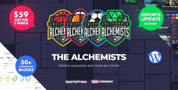 Alchemists v4.0.2 — Sports, eSports & Gaming Club and News WordPress Theme