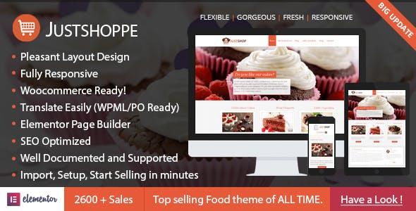 Justshoppe v10.1 — Elementor Cake Bakery WordPress Theme