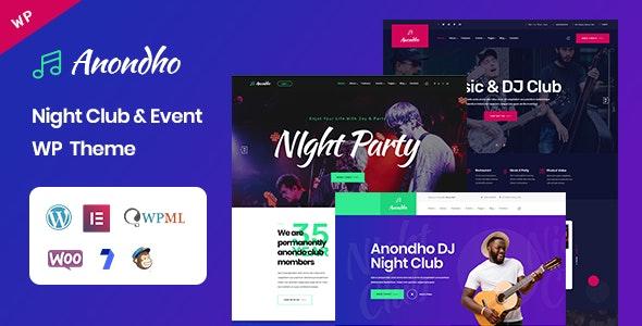 Anondho v1.0 — Night Club & Event WordPress Theme