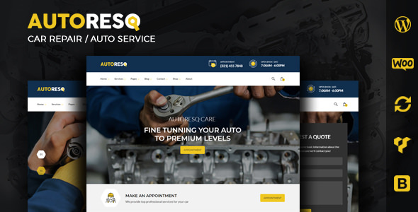 Autoresq v2.1.8 — Car Repair WordPress Theme