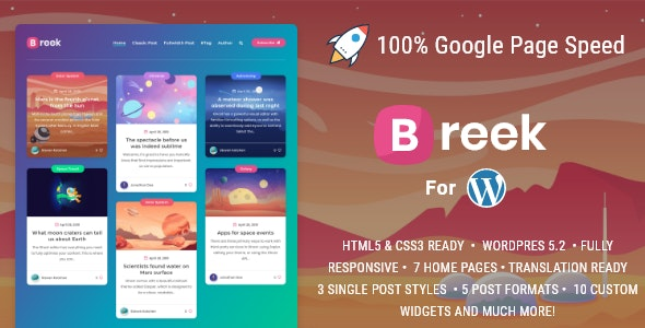 Breek v2.0.5 — Minimal Masonry Theme for WordPress