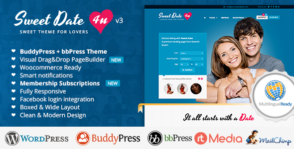 Sweet Date v3.4.9 — More than a WordPress Dating Theme