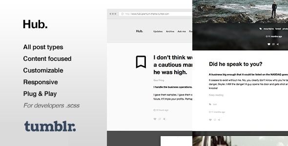 Hub v1.0.13 — One Column, Blogging Tumblr Theme
