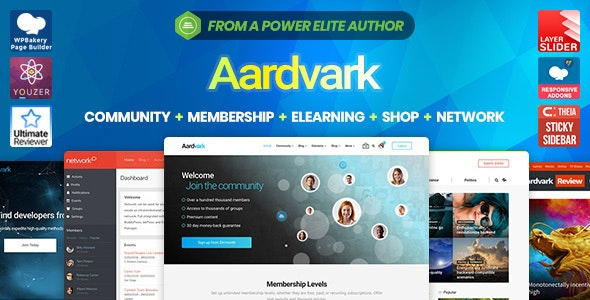Aardvark v4.16.1 — Community, Membership, BuddyPress Theme