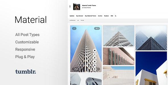 Material v2.2.2 — Responsive, Full Width, Grid Tumblr Theme for Photographers
