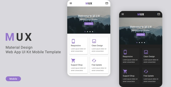 MUX v1.0 — Material Design Web App UI Kit Mobile Template