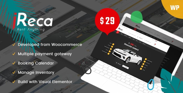 Ireca v1.2.0 — Car Rental Boat, Bike, Vehicle, Calendar WordPress Theme