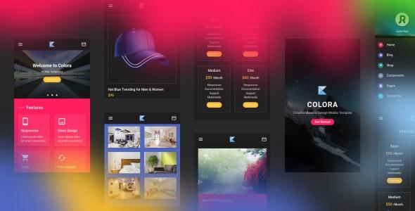 Colora v1.0 — Colorful Material Design Mobile Template